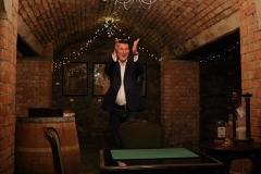 Performing  Parlour magic at Avery's Wine Merchants in Bristol